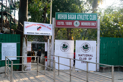 Mohun Bagan football Ground , maidan region of central Kolkata, just opposite the Eden Gardens stadium. Famous Playground of Mohun Bagan for Calcutta Football League matches. Franchisee Atlético de Kolkata used the ground as a training ground. Front entra