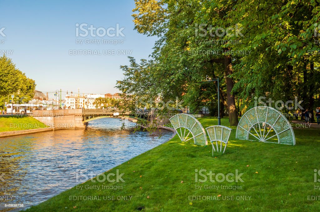 Moika river and glass composition in park of Michael Garden stock photo