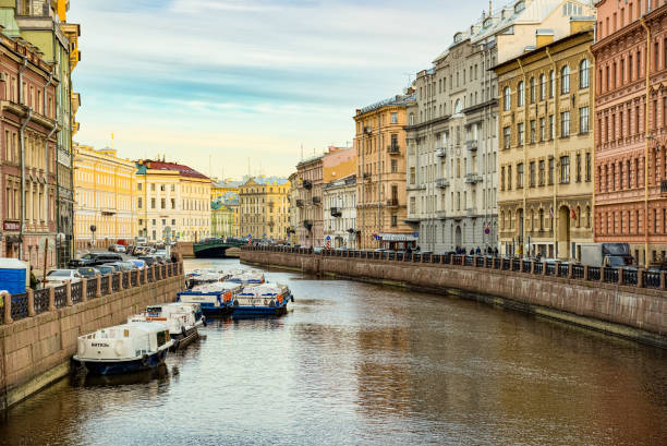 Moika's  Embankment, river in  Saint Petersburg.  Russia. stock photo