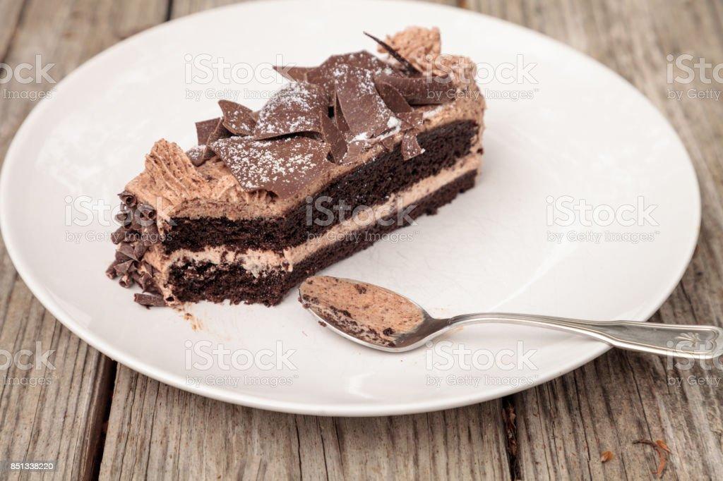 Moist devils food chocolate cake called Parisian cake stock photo