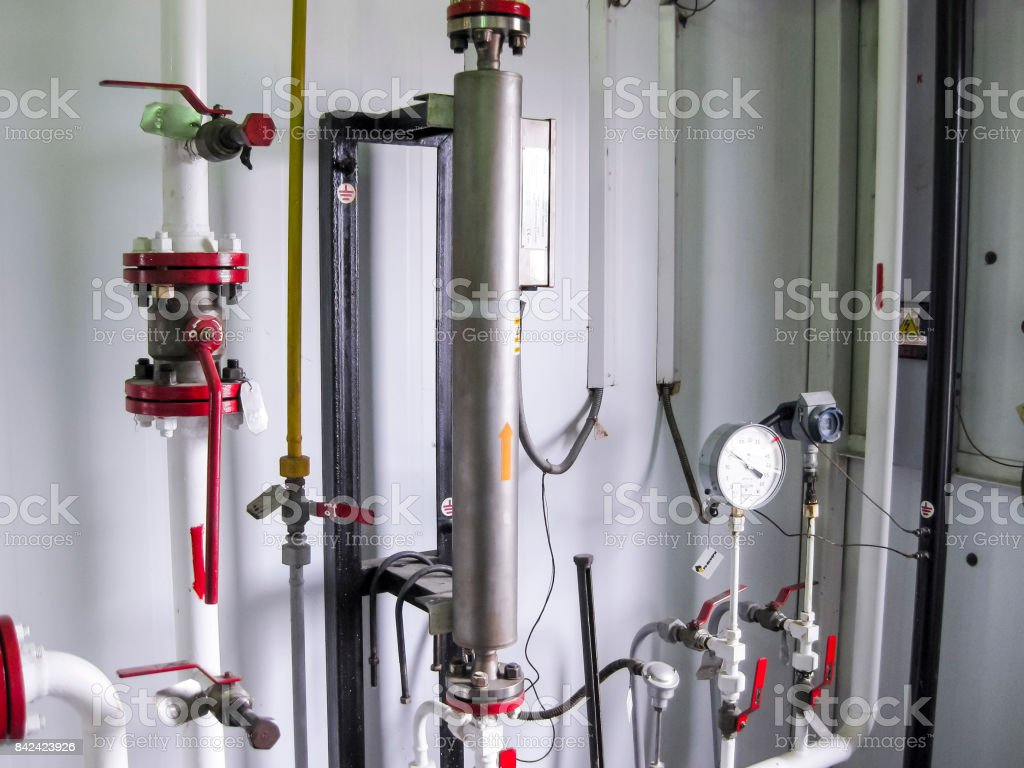 Moisture meter. The device on the oil metering unit for measuring the water content in oil. stock photo