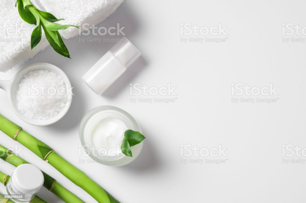 Moisturizer with bamboo sticks stock photo
