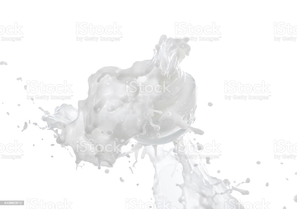 Moisturizing cream, moisturizing milk in the big milk splash stock photo