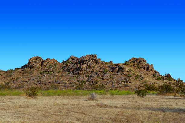 Mojave Desert rock hill formation near the Town of Apple Valley, California stock photo