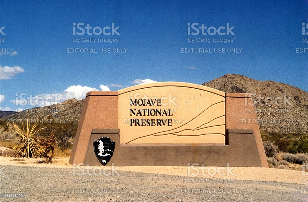 Mojave National Preserve entrance sign, California stock photo