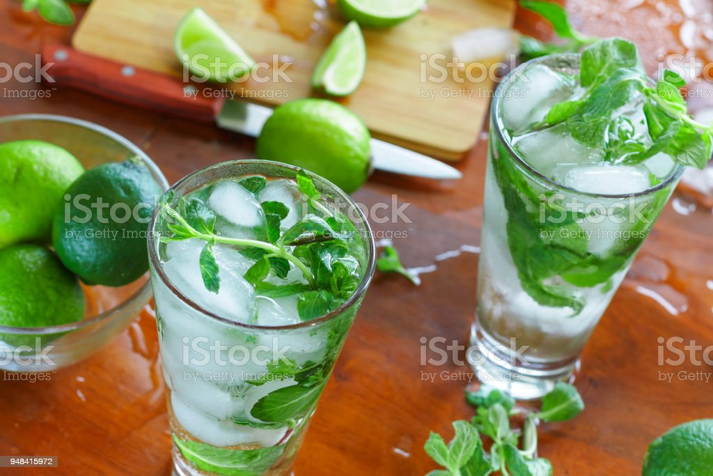 mojito, alcohol, home cocktail, refreshing, non-alcoholic, summer stock photo