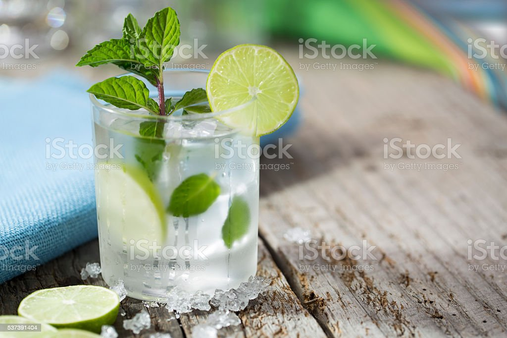 Mojito at the beach stock photo