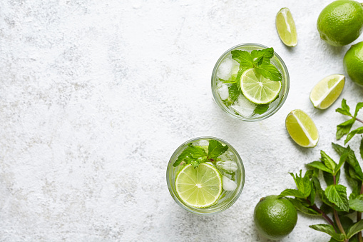 istock Mojito cocktail alcohol bar long drink traditional fresh tropical beverage top view copy space two highball glass 689759532