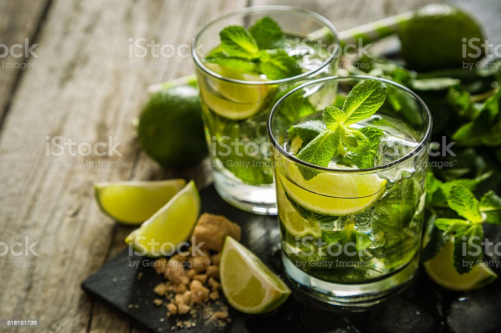 Mojito cocktail and ingredients stock photo