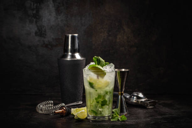 Mojito cocktail decorated with lime stock photo