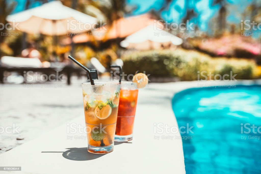 mojito cocktail drink, selective focus and details. alcoholic drink refreshment at pool royalty-free stock photo