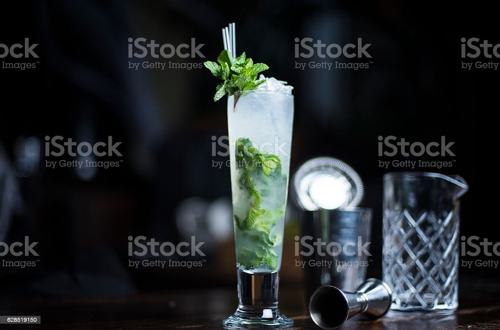 Mojito cocktail in a tall glass stock photo