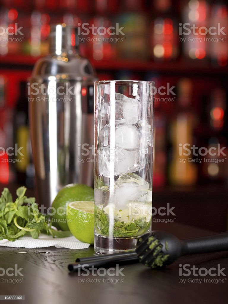 Mojito Cocktail Ingredients on Bar royalty-free stock photo