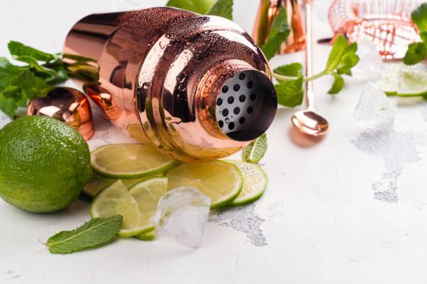 Mojito cocktail ingredients on white stone table - foto stock