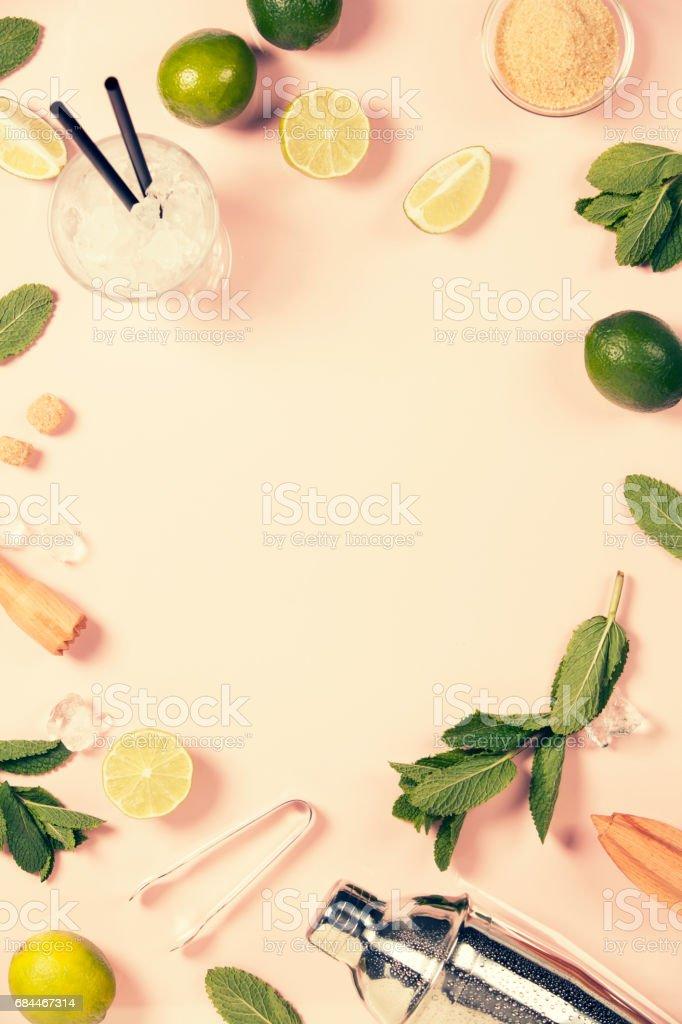 Mojito cocktail ingredients stock photo