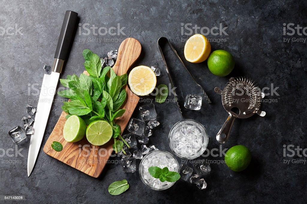 Mojito cocktail making stock photo