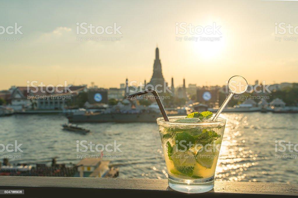 Mojito cocktail on table in rooftop bar at Bangkok ,Thailand stock photo