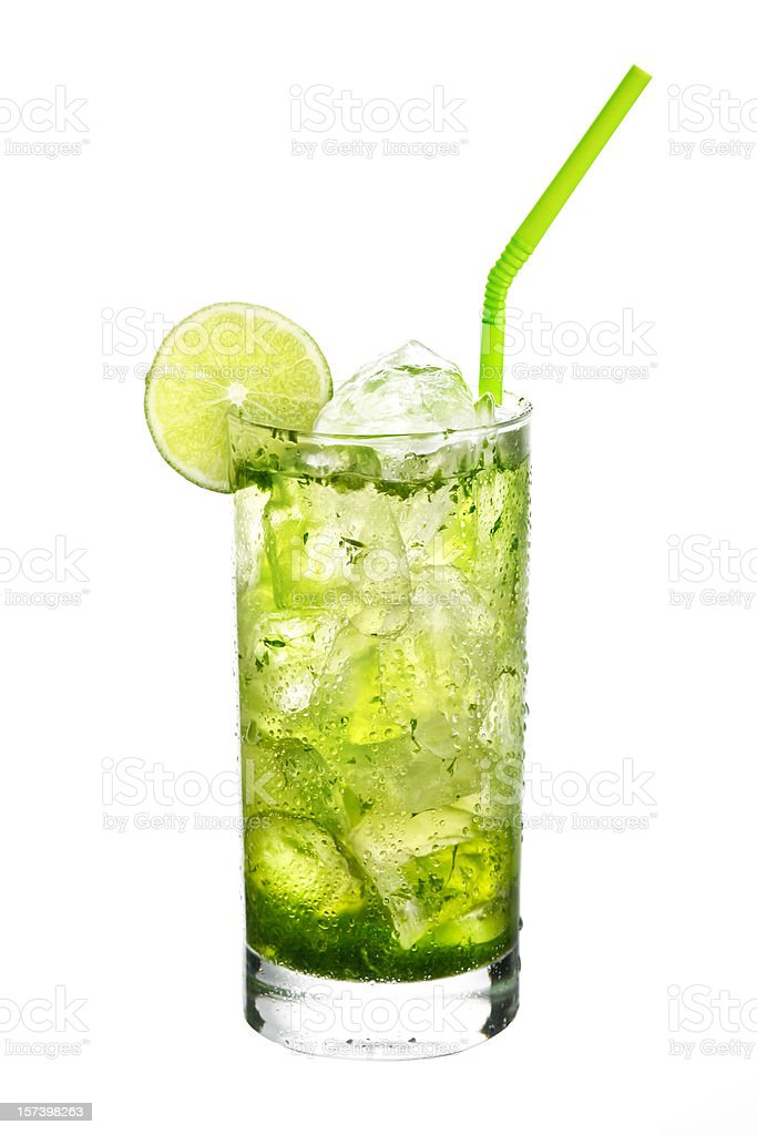 Mojito cocktail on White background. stock photo