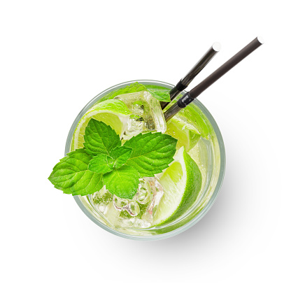 Mojito with lime and mint classic cocktail. Isolated on white background. Top view flat lay