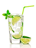 Mojito cocktail with lime and mint, isolated on white