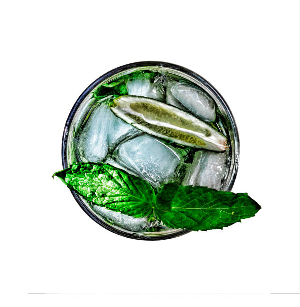mojito cocktail refreshing isolated top view stock photo