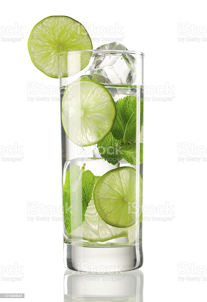 Mojito cocktail served in a high ball glass and lime wedge stock photo