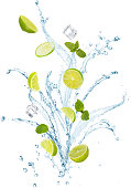 water splash with mint leaves, slices of lime and ice cubes isolated on white background