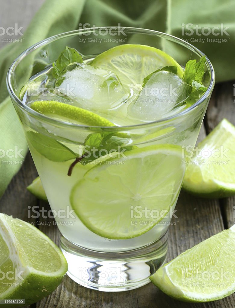 Mojito cocktail with lime, mint and ice royalty-free stock photo