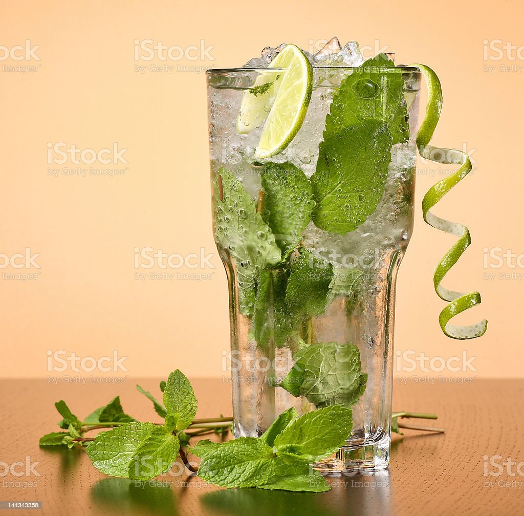 Mojito cocktail with mint leaves royalty-free stock photo