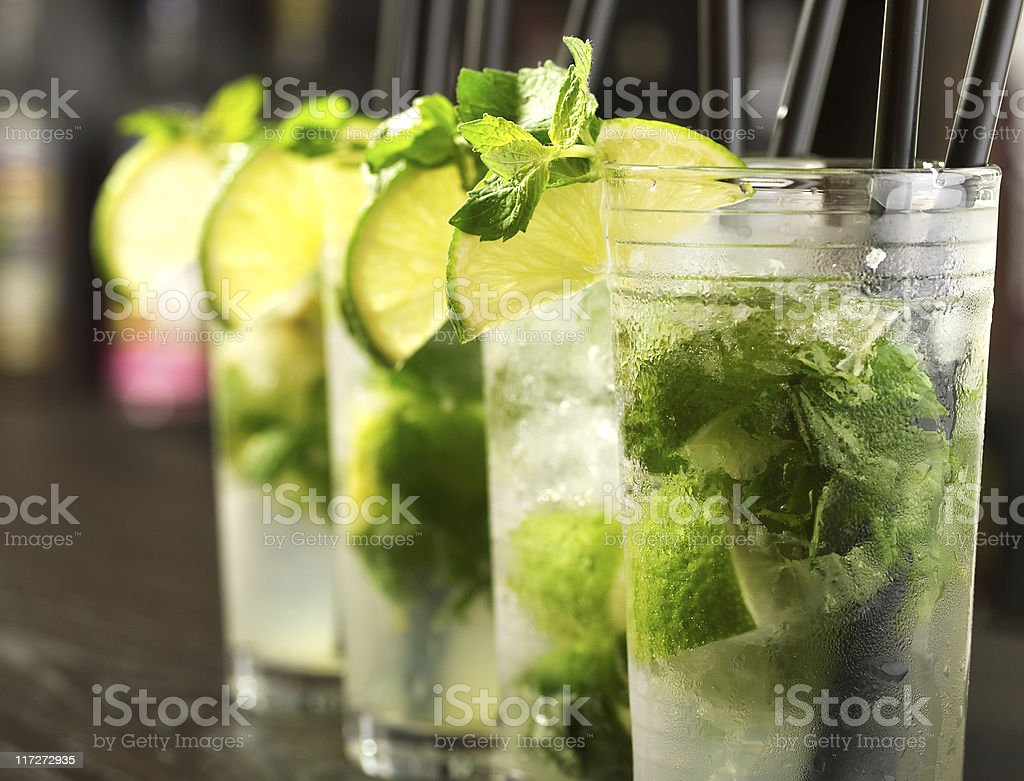 Mojito cocktails in tall glasses Ingredients: Alcohol - Drink Stock Photo