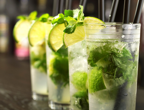 Mojito Cocktails In Tall Glasses Stock Photo - Download Image Now