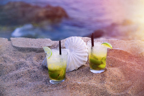 Mojito Drinks. Isolated. stock photo