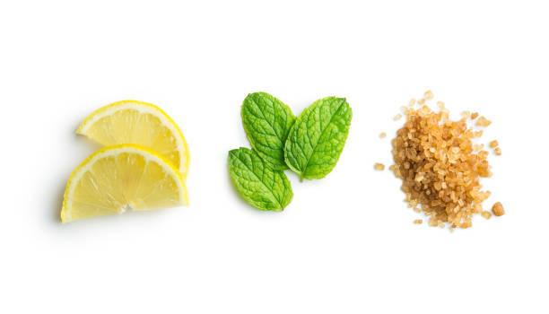 mojito malzemeler. limon, nane ve şeker kamışı - nane şeker stok fotoğraflar ve resimler