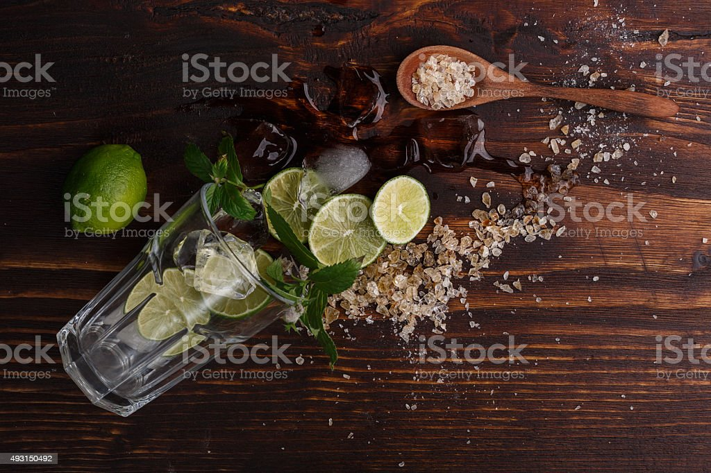 Mojito on wooden table stock photo