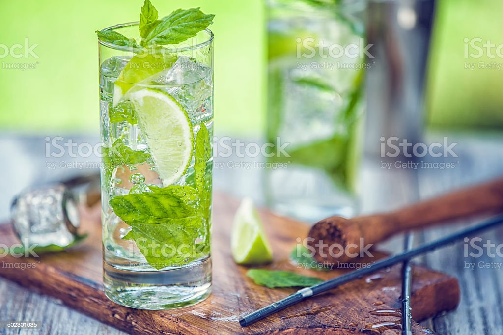 Mojito with White Rum, Lime, Mint and Crushed Ice royalty-free stock photo
