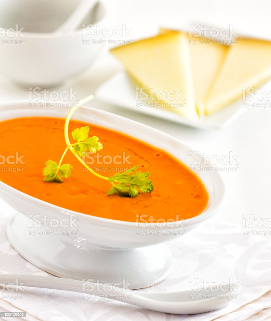 Mojo sauce with cheese and almonds stock photo