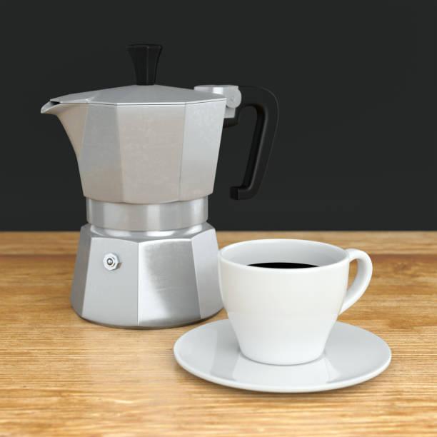 moka coffee pot and cup - argento metallo caffettiera foto e immagini stock