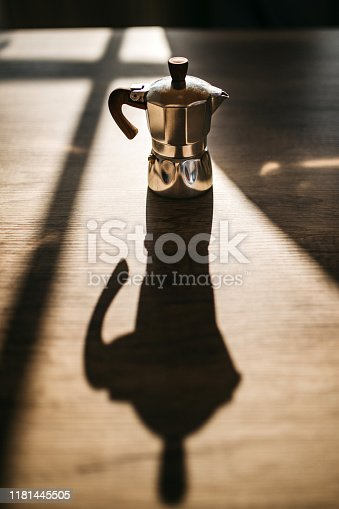 Italian coffee maker on kitchen counter