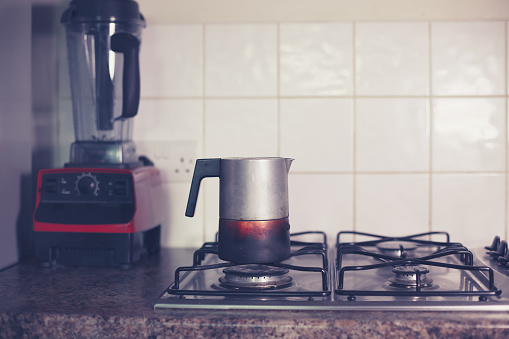 Moka pot on stove