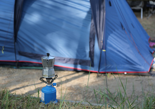 Moka pot to make a good coffee on the camping stove in the camps