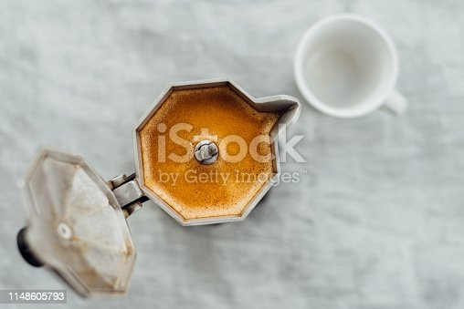 istock Moka pot with coffee and cup 1148605793