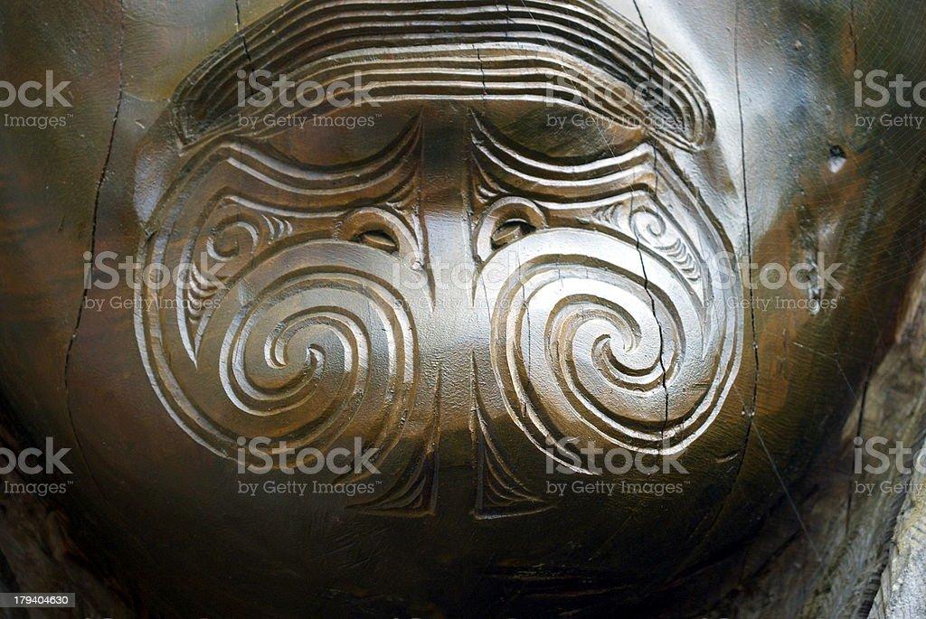 Tā Moko Close Up on Carving royalty-free stock photo