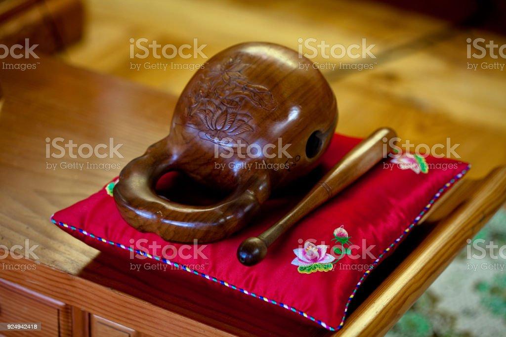 Moktak Wooden fish wakeful drum in temple asia stock photo
