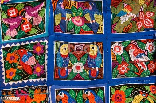 Mola Textil art, Playon Chico island, San Blas islands, Panama, Central America