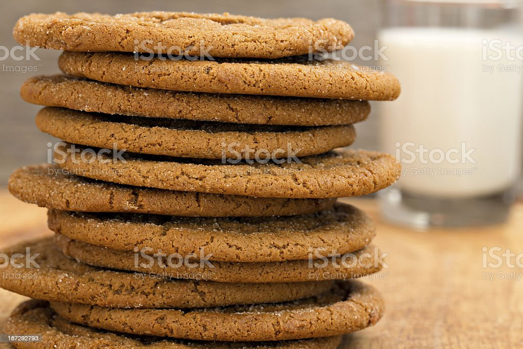 Molasses Cookies And Milk royalty-free stock photo