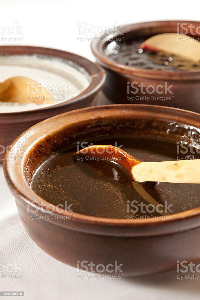 molasses, jam and yoghurt stock photo