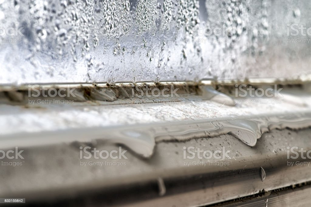 Mold and dirt on window stock photo
