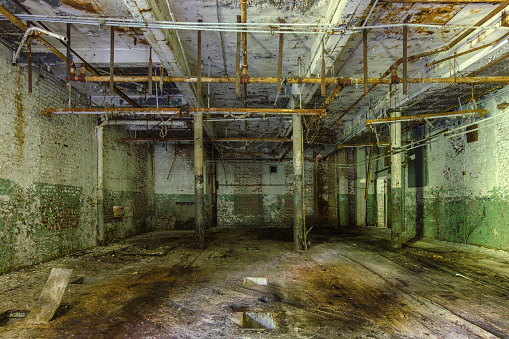 Mold filled room with support beams in an abandoned factory in the deep south