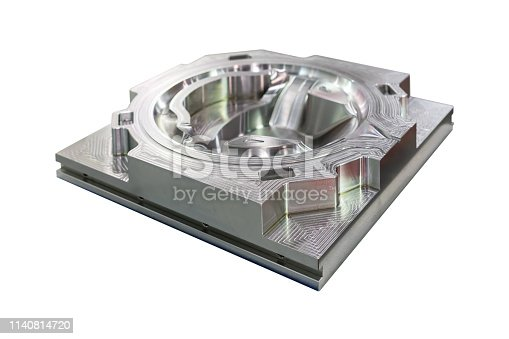 istock Mold or die machining part from manufacture by cnc machining center material made from steel isolated on white background 1140814720