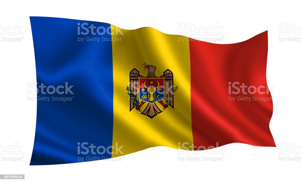 Moldova flag. A series of 'Flags of the world.' (The country - Moldova flag) stock photo